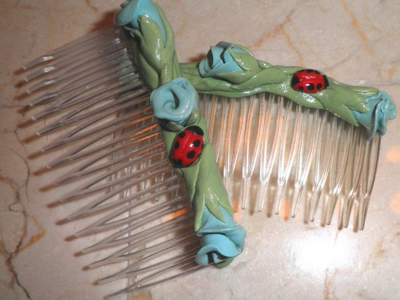 Roses and Ladybug Hair Combs