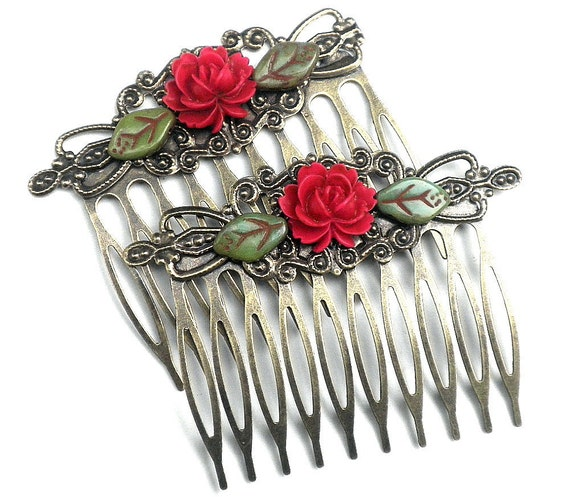 Red Rose Antiqued Brass Hair Comb Set