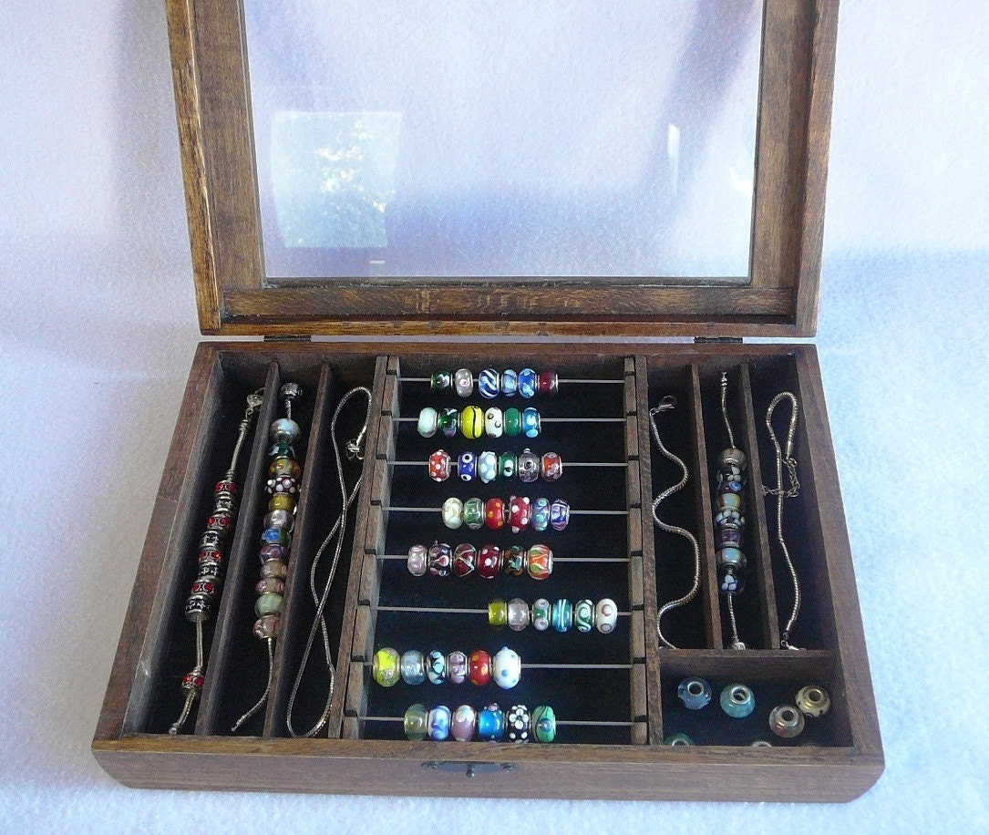 Jewelry Box For Pandora Charms: Items Similar To Pandora Bead Hinged Glass Top Bead Box