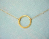 Brushed Gold Halo 16 inch Necklace