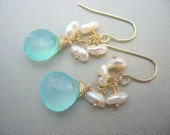 Aqua Chalcedony and Keshi, Pearl Earrings