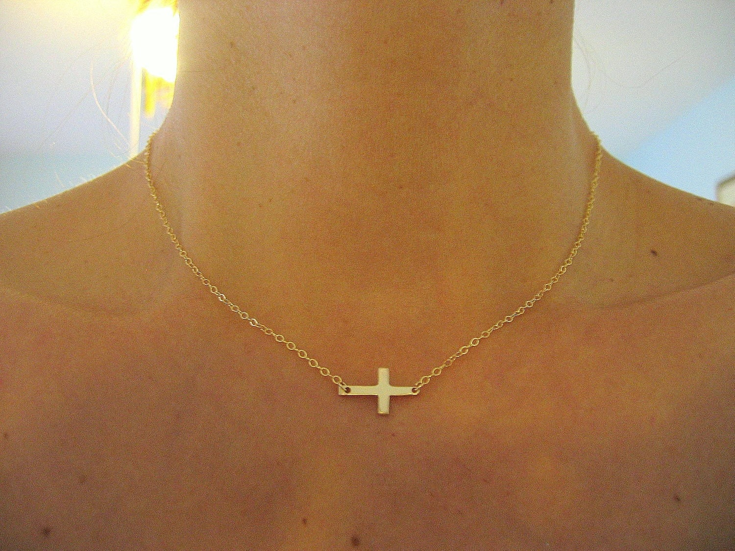 small sideways cross necklace gold cross necklace