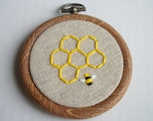 Honey Bee Embroidered Hoop Art - 3 inch - Made to Order