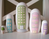 City Buildings Nesting Dolls - Set of 5 - Hand Painted Matryoshka