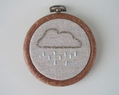 Gray Rain Cloud Embroidered Hoop Art - 3 inch - Made to Order - HeyAbby