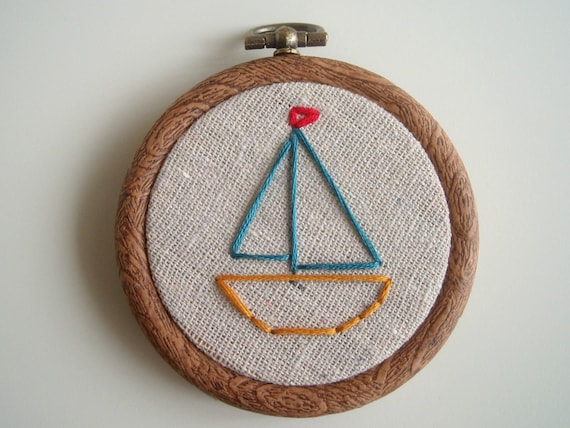 Sailboat Embroidered Hoop Art - 3 inch