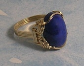 wire sculpted Goldfill lapis lazuli Mens Ring