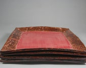 Handmade Square Textured Dinner or Sushi Plate in Red & Brown
