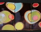 Retro Brown and Bright Colors Circle Tile Mosaic Mural