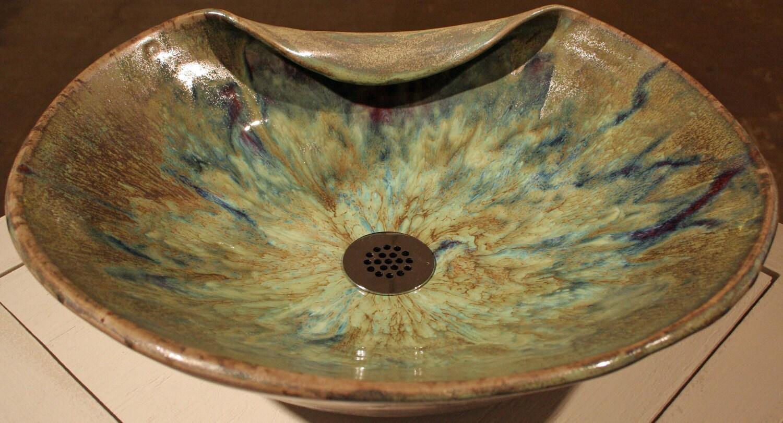 Items similar to Handthrown Custom Vessel Sink in green on Etsy