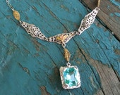 VINTAGE Art Deco Aquamarine Lavalier Pendant / Lavaliere Necklace in 10K White Yellow and Rose Gold Filigree