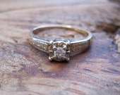RESERVED for Chrissy / VINTAGE Art Deco Diamond Solitaire Engagement Ring in 14K Yellow and White Gold Setting