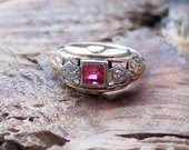 VINTAGE Art Deco Ruby and Diamond Ring in 14K Yellow and White Gold Setting