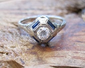 RESERVED / VINTAGE Art Deco Diamond and Sapphire Engagement Ring in 18K White Gold