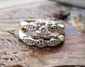 RESERVED / VINTAGE Art Deco Matching Diamond Engagement Ring and Wedding Band Set in 14K Yellow and White Gold