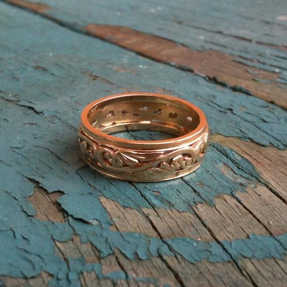 ESTATE Art Nouveau 14K Yellow Gold Filigree Wedding Band or