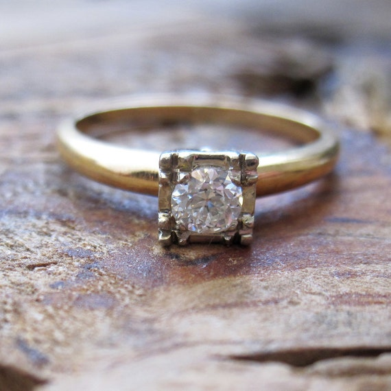 VINTAGE Art Deco Diamond Solitaire Engagement Ring in 14K Yellow and White Gold