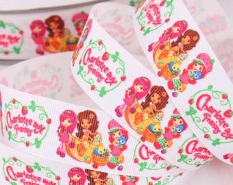 "1"" Cute STRAWBERRY SHORTCAKE hairbow Printed grosgrain ribbon-3/5/10 Yards"