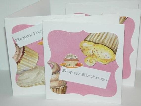Cupcakes Birthday Card Set of 10