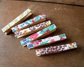 VIntage Fabric Covered Clothes Pins :)