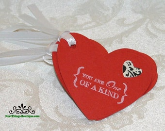 6 You Are One Of A Kind Red Heart Tags Set