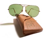 Vintage 1950s Authentic 12k Gold Fill Bausch & Lomb RAY BAN Aviator Sunglasses with Case