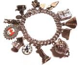 Vintage STERLING SILVER 1960s Charm Bracelet 12 Charms Travel Theme - PinkyAGoGo