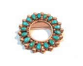 Vintage Turquoise &  Silver Zuni Wreath Circle Brooch Pin