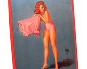 Authentic Vintage 1940s Earl Moran Larger Risque Pin Up Salesman Sample Card In The Pink