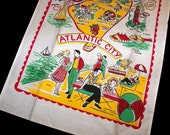 Authentic Vintage 1950s Atlantic City New Jersey Kitchen Linen Hand Towel Unused