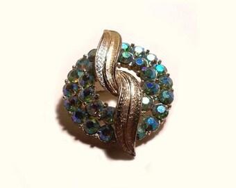 signed Coro vintage Ice Blue Aurora Borealis RHINESTONE Wreath Pin Brooch