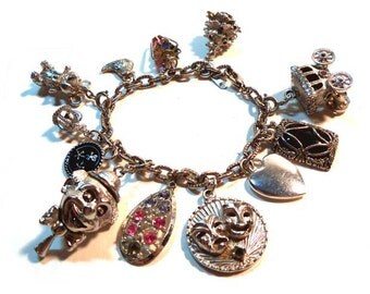 Vintage Silver Charm Bracelet 12 Charms Many Moveable Cinderellas Carriage, Blinking Clown, Christmas Tree, etc