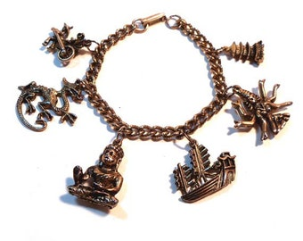 Vintage 1980s Asian Themed Charm Bracelet 6 Charms Buddha, Vishnu, Dragon, etc