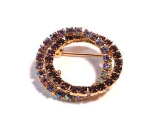 Vintage Aurora Borealis & Cranberry RHINESTONE Double Circle Infinity Wreath Pin Brooch