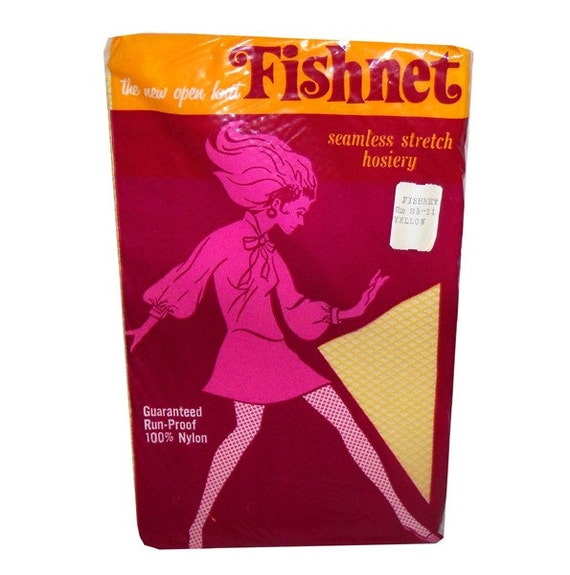 MINT YELLOW Vintage 1960s Thigh High Nylon FISHNET Stockings In Original Packaging Size 8 1/2 - 11