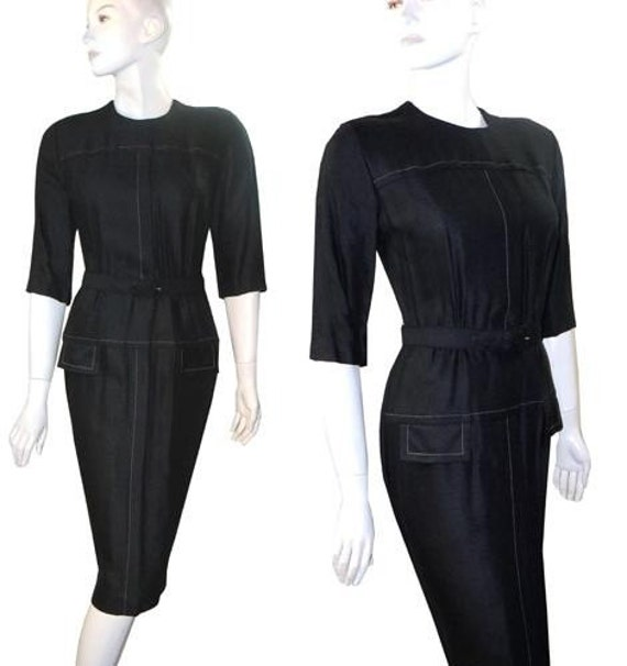 Curvy Vintage 1950s Rockabilly Black Wiggle Dress by Cay Artley 36-24-36