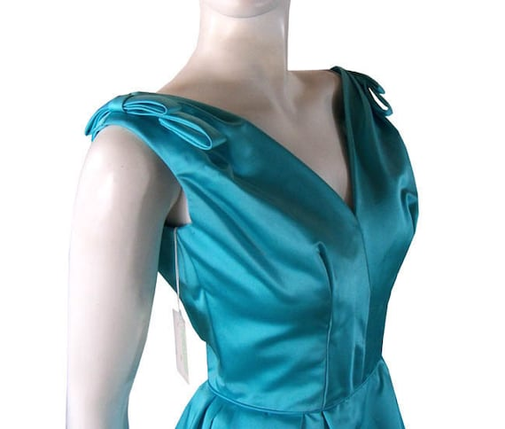 Vintage late 1950s Turquoise Party Dress With Puff Bubble Skirt Never Worn Tags Attached Small