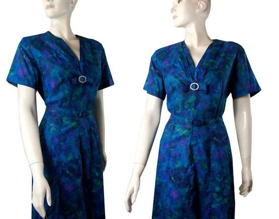 """Vintage 1950s Sweet Peacock Blue Floral Cotton Day Dress Bust 44"""" Large"""