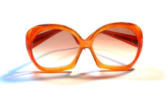 Peepers Vintage 1970s Huge Eye Ray Lite Made in Italy Orange Ombre Sunglasses