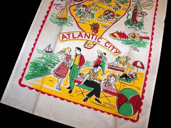 Authentic Vintage 1950s Atlantic City New Jersey Kitchen Linen Hand Towel Unused