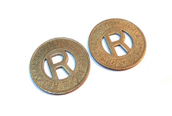 2 Brass Vintage 1940s Bus or Subway Transit Tokens from Rochester Western New York