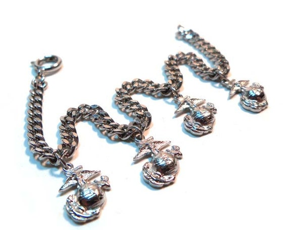 Vintage  Sweetheart Marine Corp Army Military, Service, Silver Tone Charm Bracelet