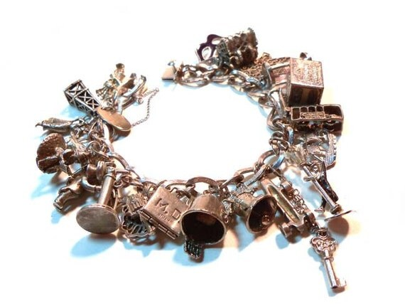 RARE Most Amazing 1940s-1950s Vintage STERLING SILVER Charm Bracelet 23 Charms Miscellaneous Theme Many Move Gene Kelly, Fez, Gnome, etc