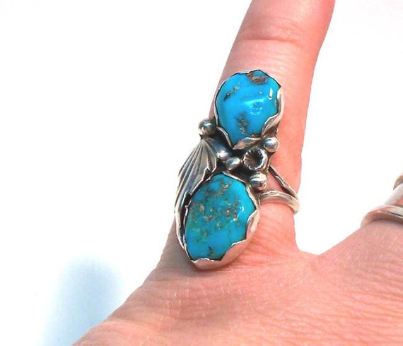 Large Double Turquoise Vintage  Silver  Southwestern Signed Nieto American Indian  Ring Size 7