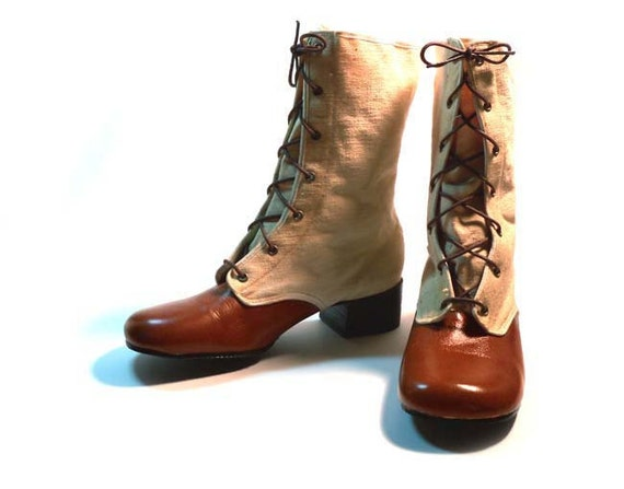 Vintage 1960s  Brown Leather  & Cream Canvas Lace Up Boots Shoes  Never Worn