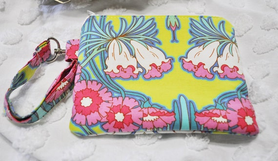 CLEARANCE Sale Zippered Wristlet with Detachable Wrist Strap-Amy Butler Fabric