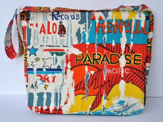 Messenger Bag Funky Hawaii Graffiti Print Crossbody with Adjustable Strap