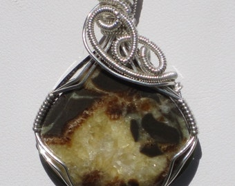 Golden Magic/Septarain Quartz and Sterling Silver Wire Wrap Pendent, One of a Kind, Hand Made