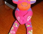Fuschia Pink Mini Monkey made using Strawberry Shortcake socks