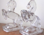 Vintage 1950's Fostoria Glass Rearing Horse Bookends